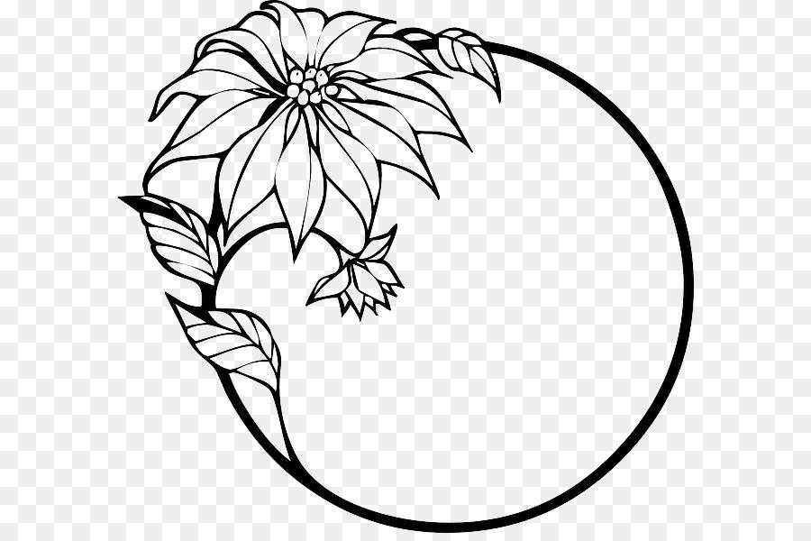 Grenze Blumen Zeichnung Clip Art Schwarz Und Weiß