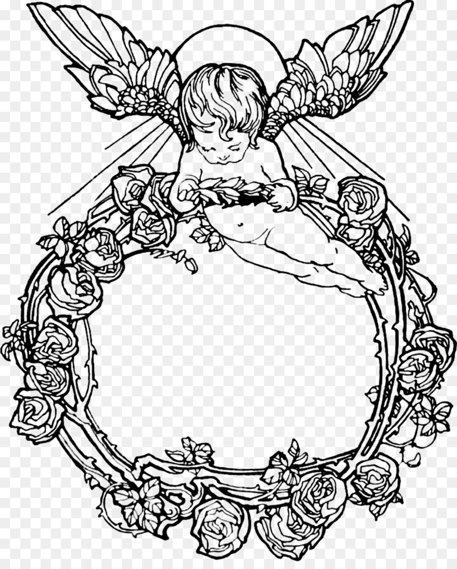 Cherub Picture Frames Angel Drawing - ex libris png download - 982 ...