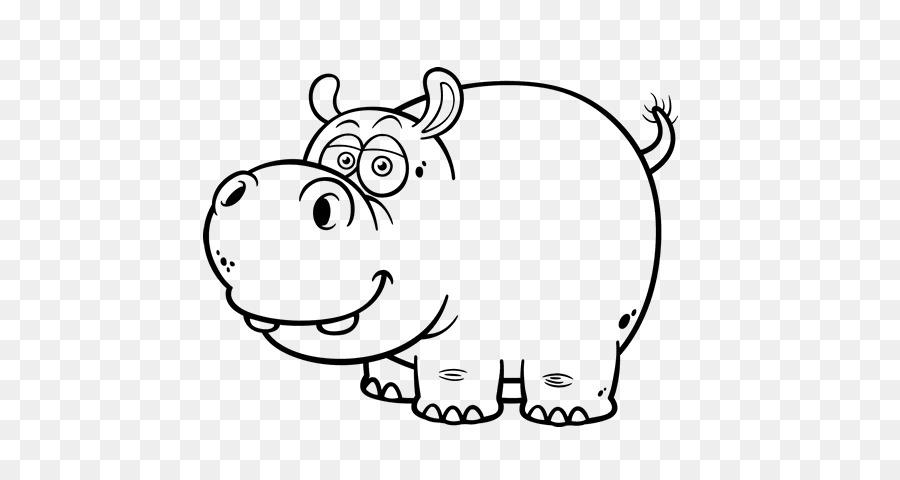 Hipopótamo Dibujo de dibujos animados en blanco y Negro - otros png ...