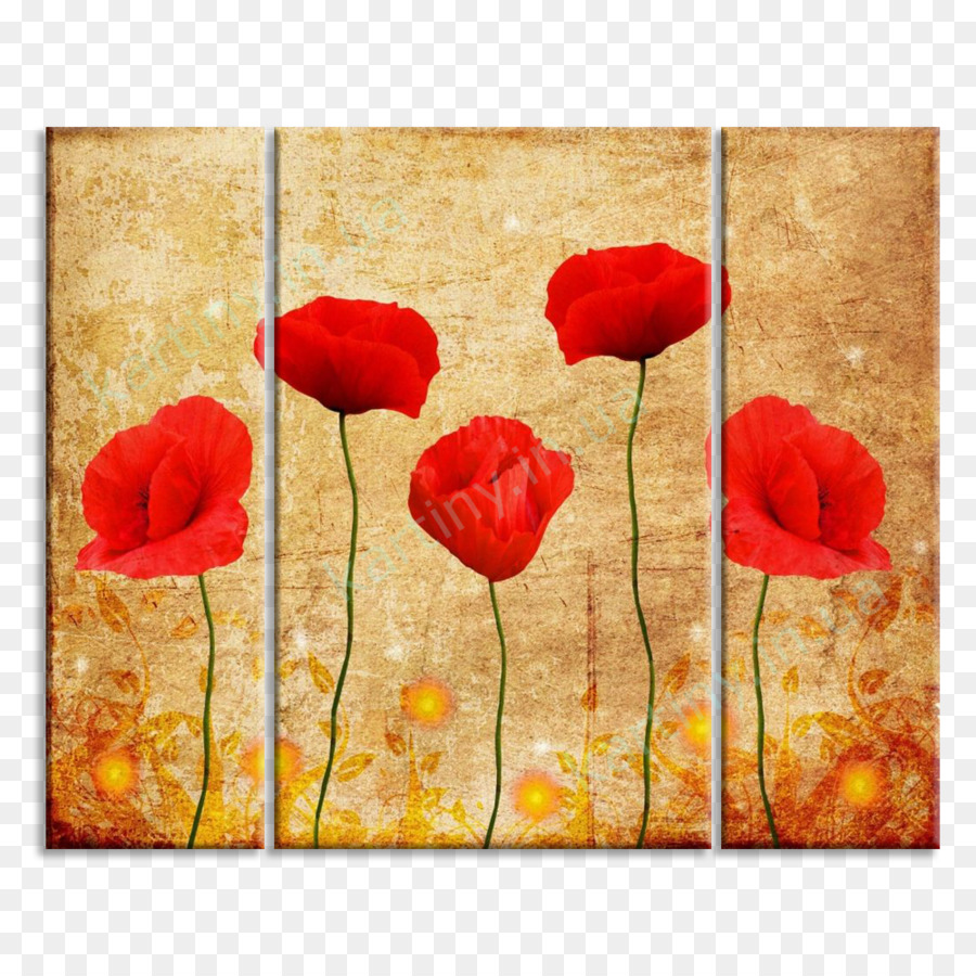 Mural Poppy Watercolor painting Interieur Wallpaper - red poppies ...
