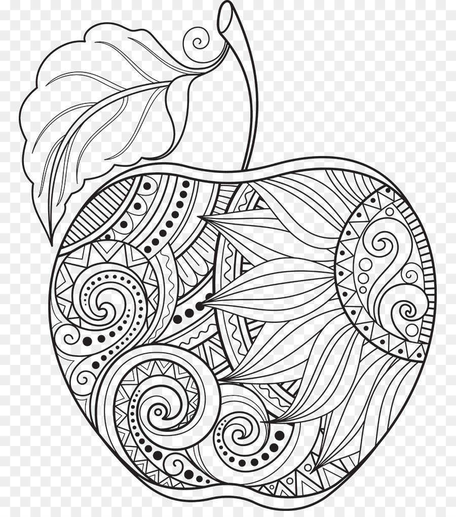 Coloring book Apple Doodle Adult Child - apple png download - 825 ...