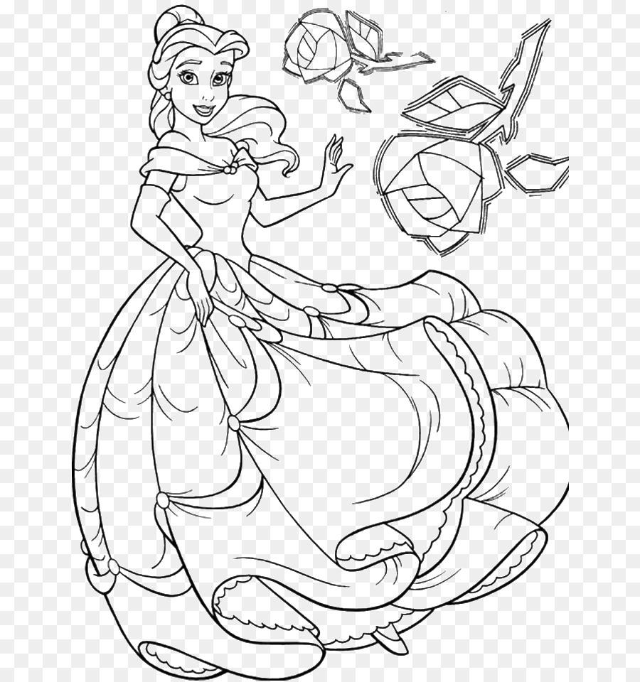 Belle Tiana Bestia libro para Colorear de la Princesa de Disney - la ...