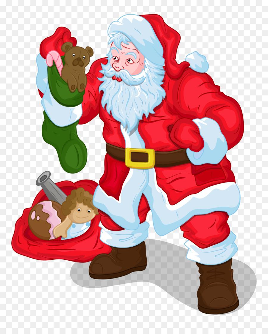 Santa Claus Christmas Gift Clip art - santa claus carries a gift png ...