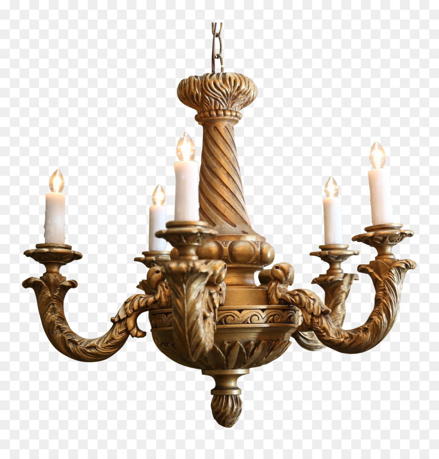 Chandelier light wood 1890s gilding woodcarving