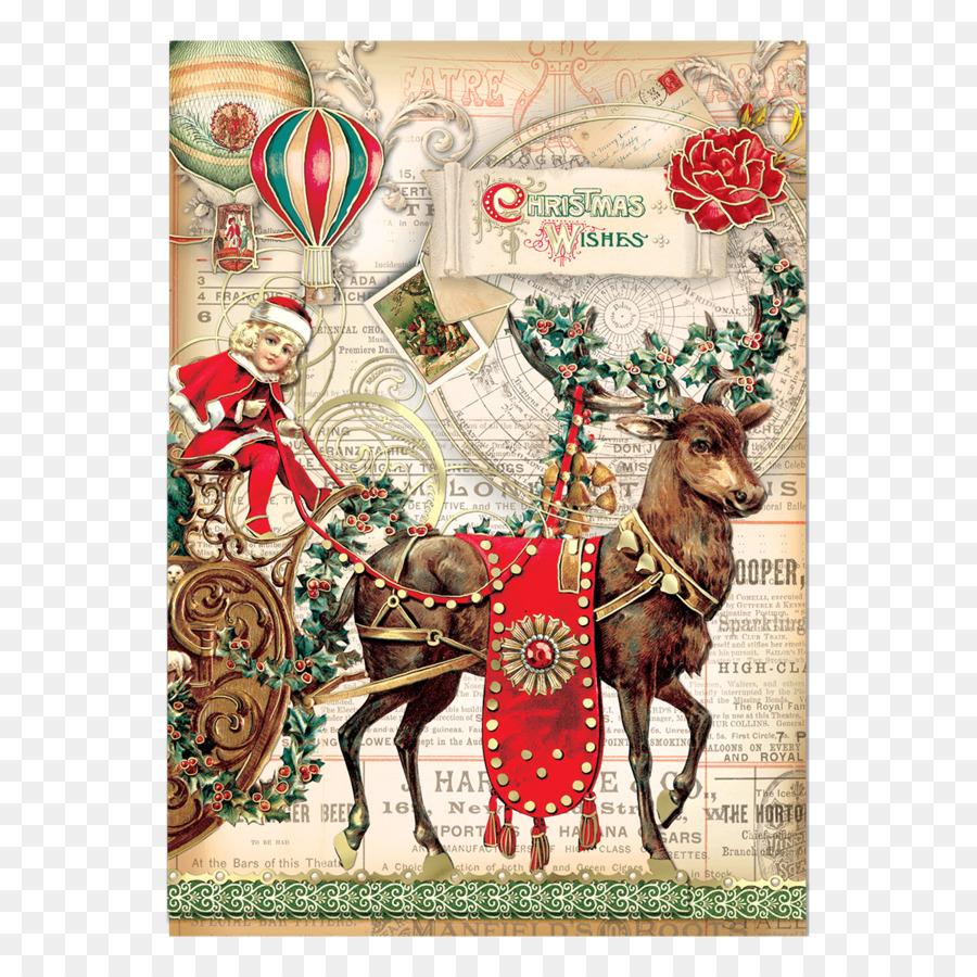 Christmas Ornament Reindeer Santa Claus Christmas Card Greeting
