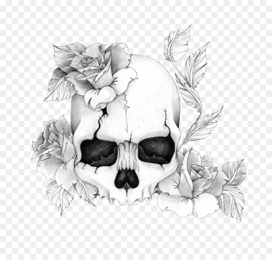 Human Skull Symbolism Rose Drawing Tattoo Rose Png Download 800