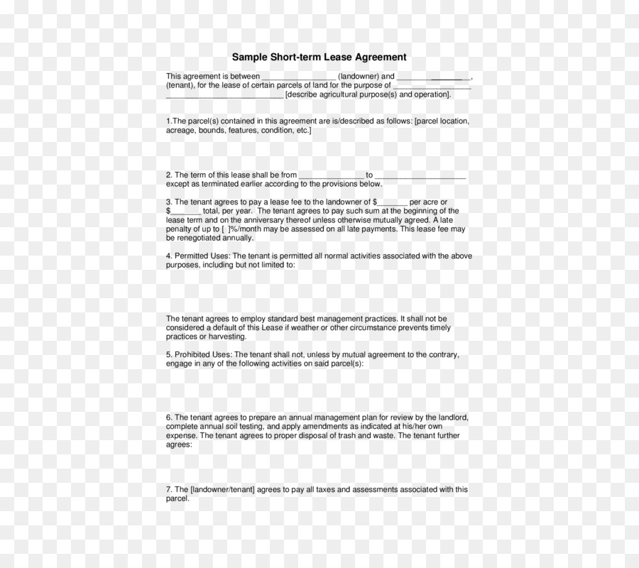 Rental Agreement Lease Contract Renting Template Others Png