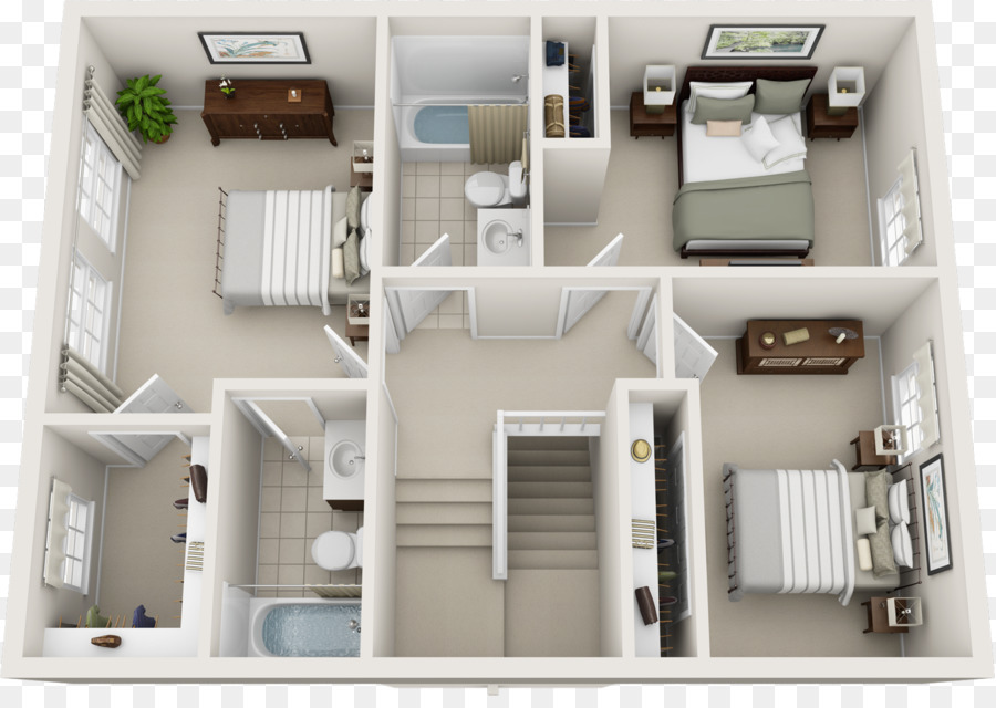 Floor Plan House Plan Bedroom   Three Rooms And Two Rooms