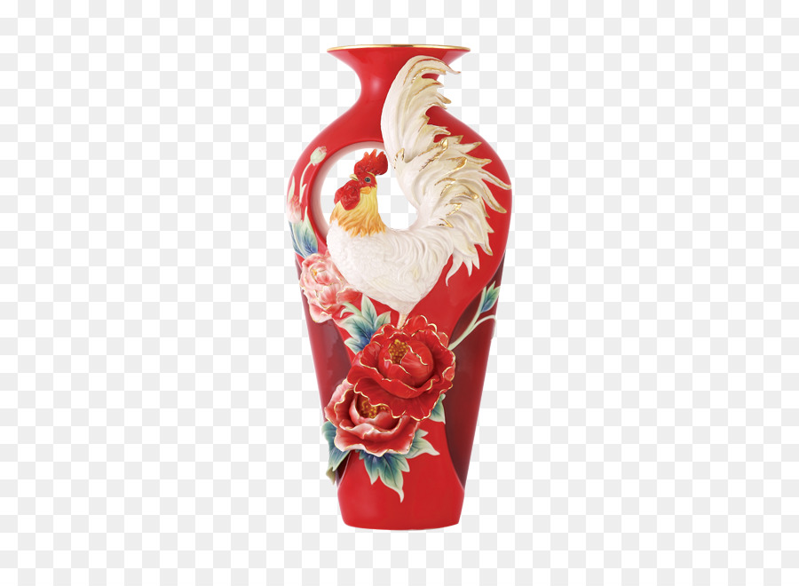 Chicken Franz Porcelain Vase Chinese New Year Chinese Herbaceous