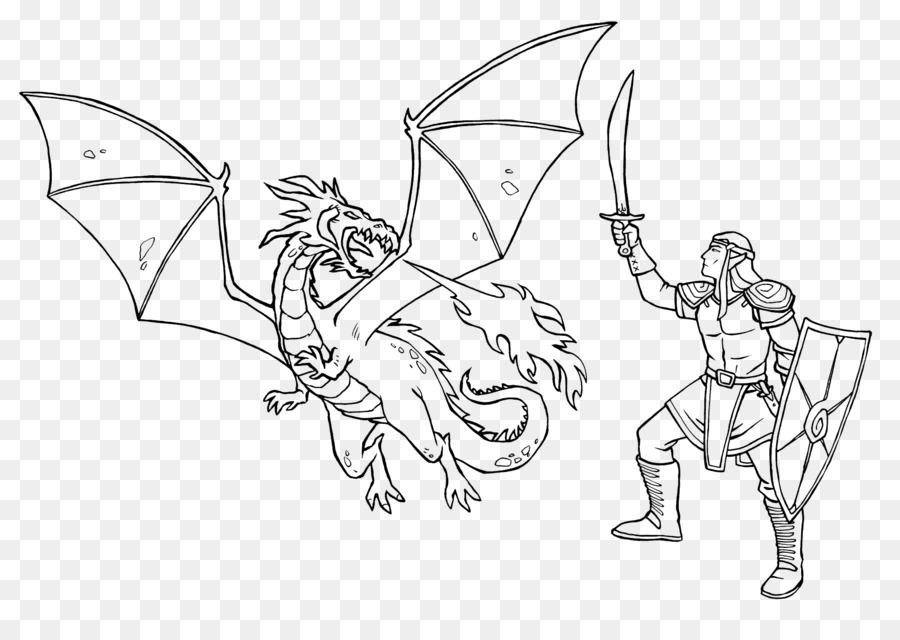Ausmalbild Caballero Dragón para Colorear libro de cuento de Hadas ...