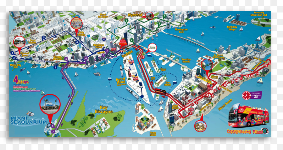 miami beach bus road map - make a sightseeing tour png