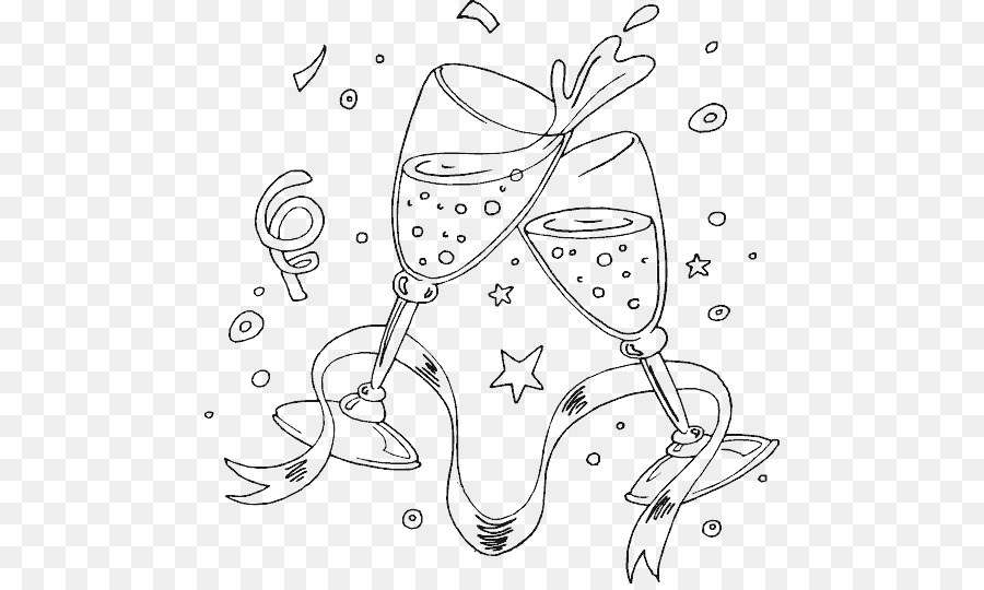 Champagne Coloring Book Wine Drawing Adult Champagne Png Download