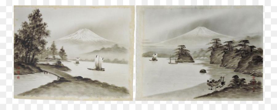 Aquarell Mount Fuji Silk Malerei Kunst Japanische Tuschemalerei