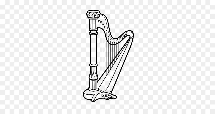 Arpa Dibujo de Instrumentos Musicales para Colorear libro - arpa png ...