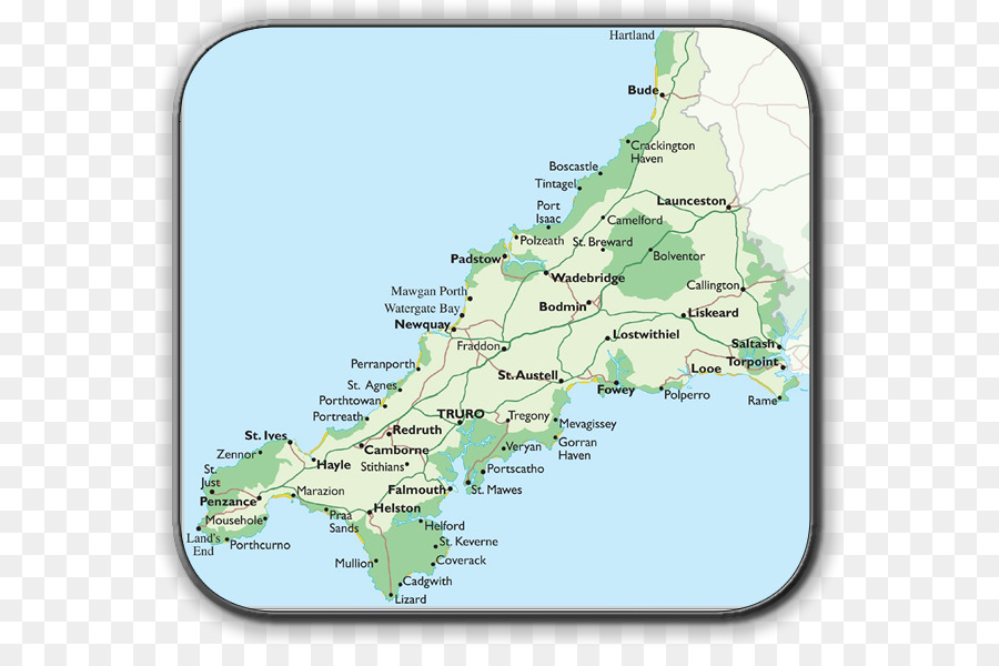 Lands End England Map.Falmouth Tintagel St Ives Map Land S End Map Png Download 624