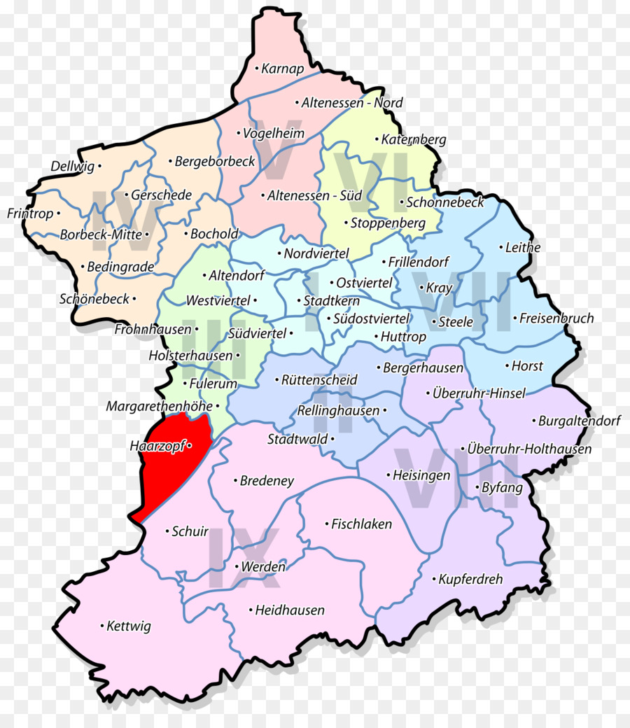 Essen Abbey Kettwig Ruhr EssenLeithe BorbeckMitte map png