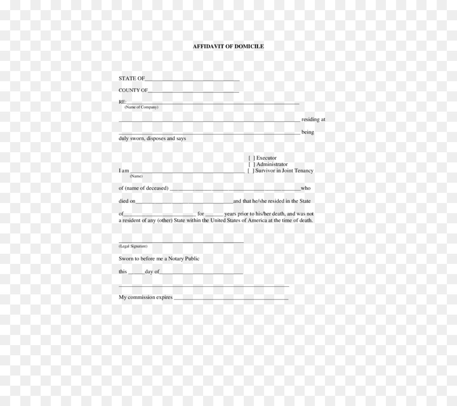 Document Affidavit Template Residency Notary - others png