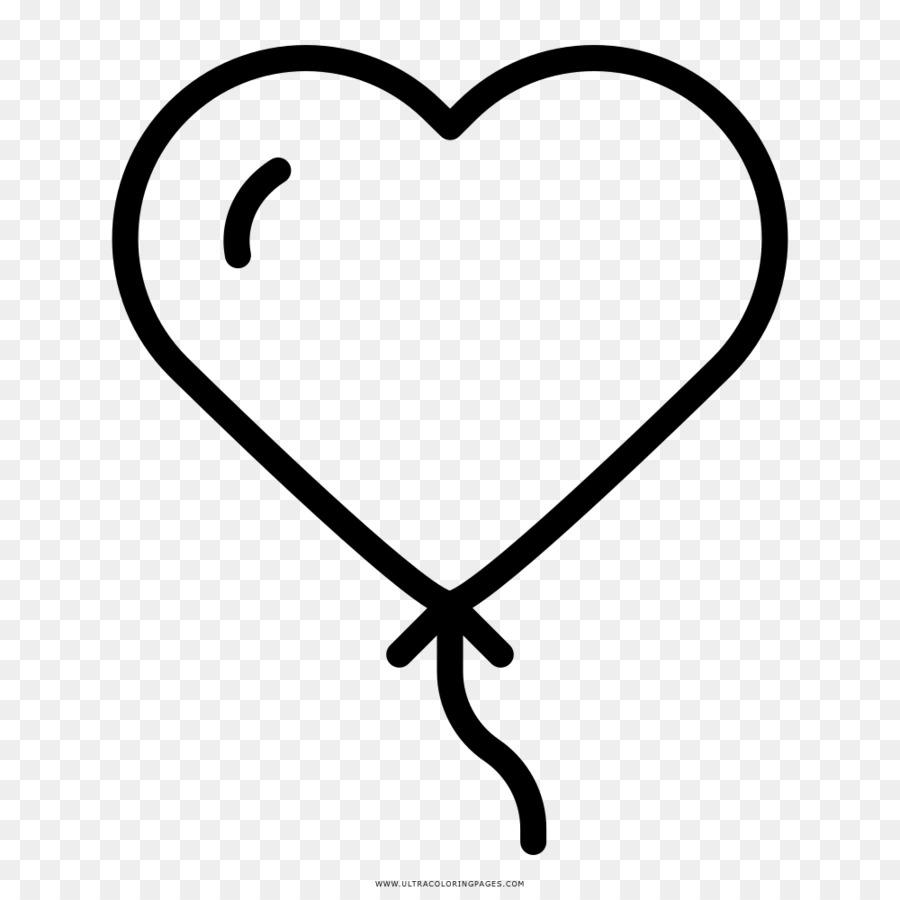Corazón de Dibujo de Globos para Colorear libro - corazón Formatos ...