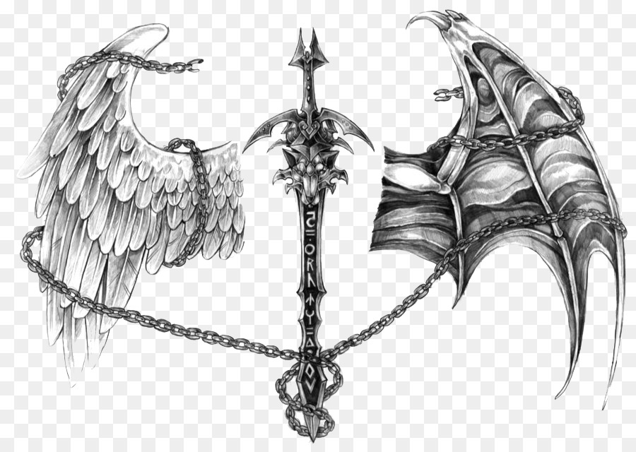 Angel Devil Tattoo Demon Drawing - angel png download - 900*632 ...