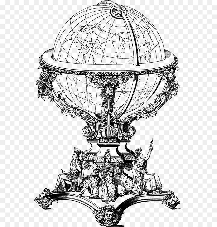 Vintage Globe Line Drawing : Globe earth vintage clothing clip art png download