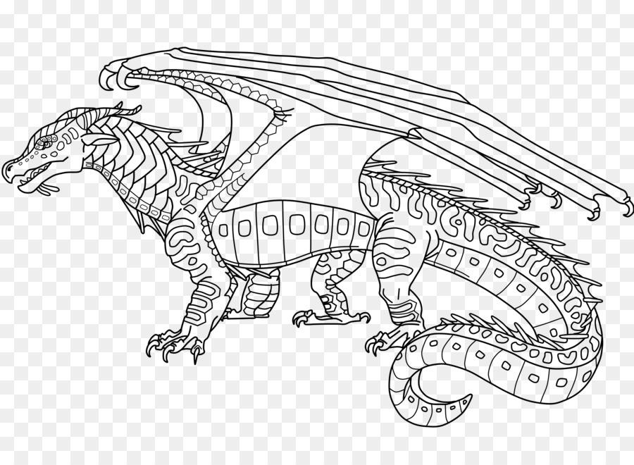Alas de Fuego de la Línea de arte libro para Colorear de Dragon ...