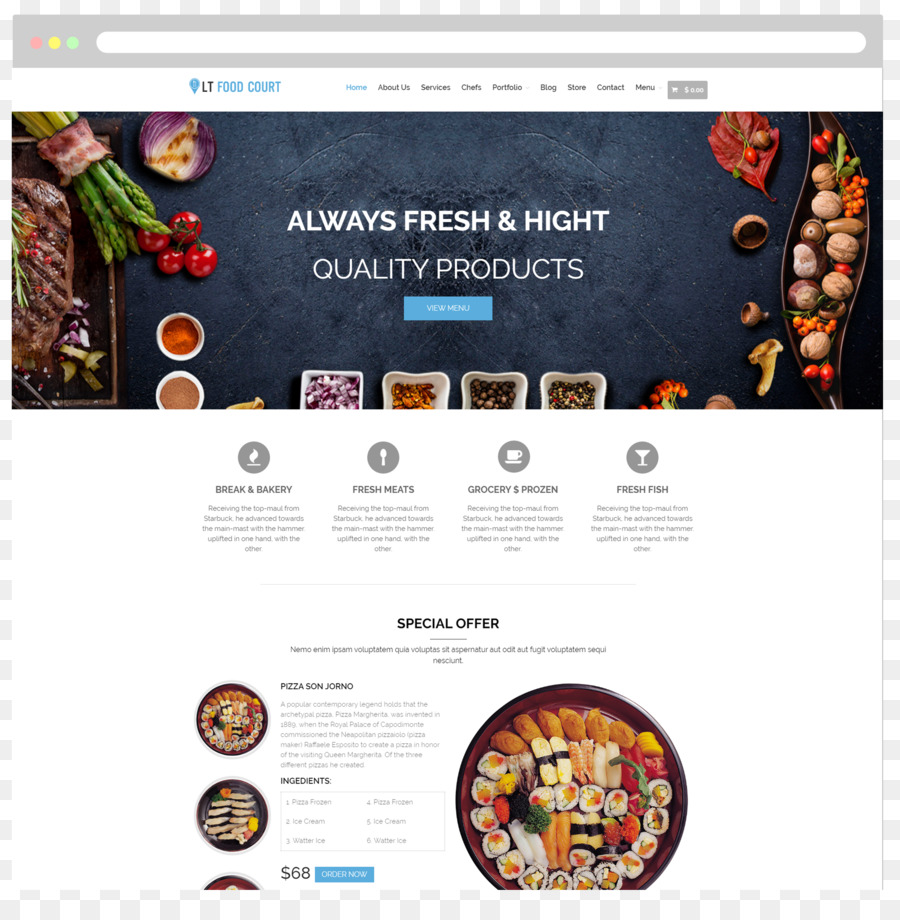 Food Court Responsive Web Design Take Out Restaurant Wordpress Png