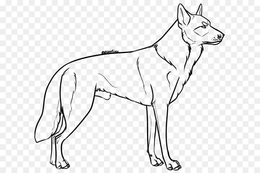 Raza de perro de la Línea de arte Pastor alemán Cachorro de Dibujo ...