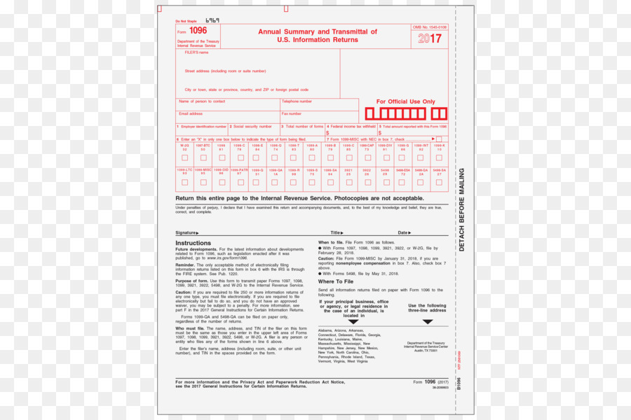 Form 1096 Form 1099 Misc Internal Revenue Service Others Png