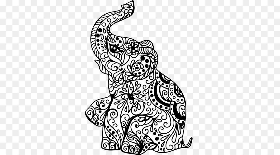 Henna Mehndi Gajah India Gajah Unduh Seni Monokrom Fotografi
