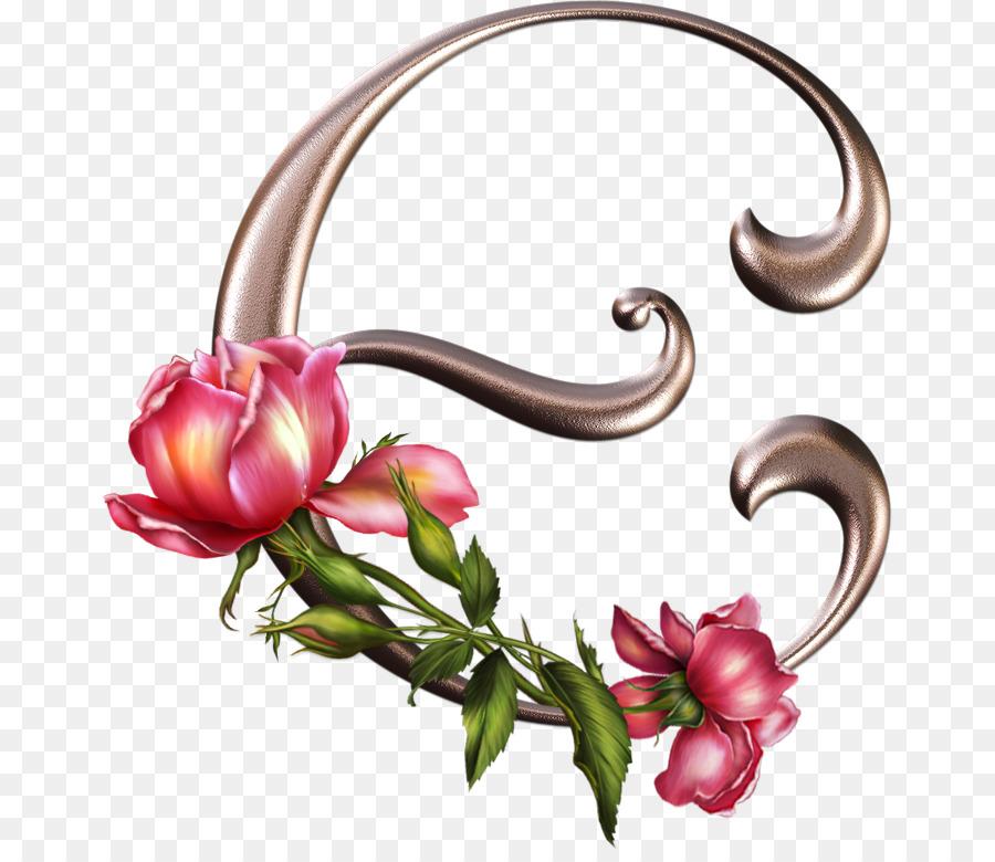 Gothic Alphabet Letter Rose Floral Design