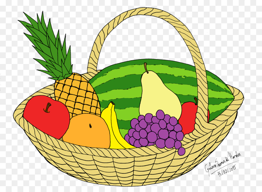 Basket Of Fruit Vegetarian Cuisine Drawing Vegetable Png Download
