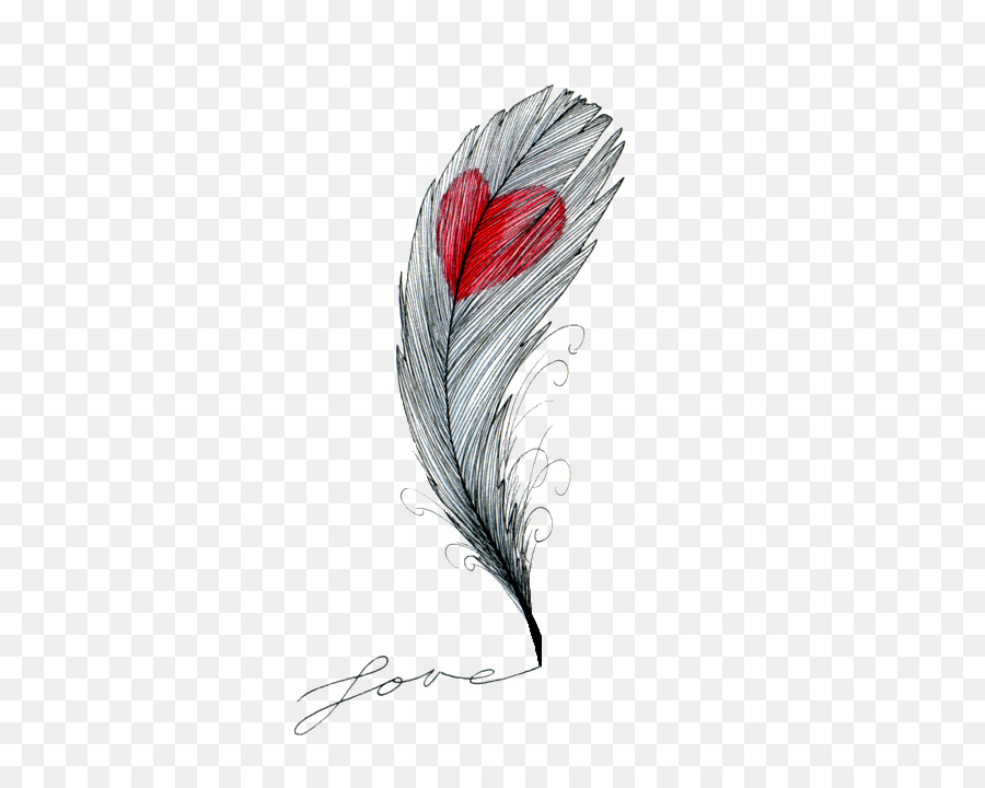 Line Art Animals Tattoo : Drawing feather heart sketch png download