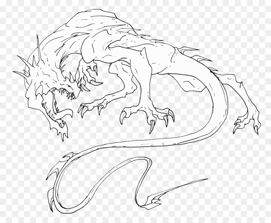 Arte de línea de Dibujo de Dragón Croquis - dragón png dibujo ...