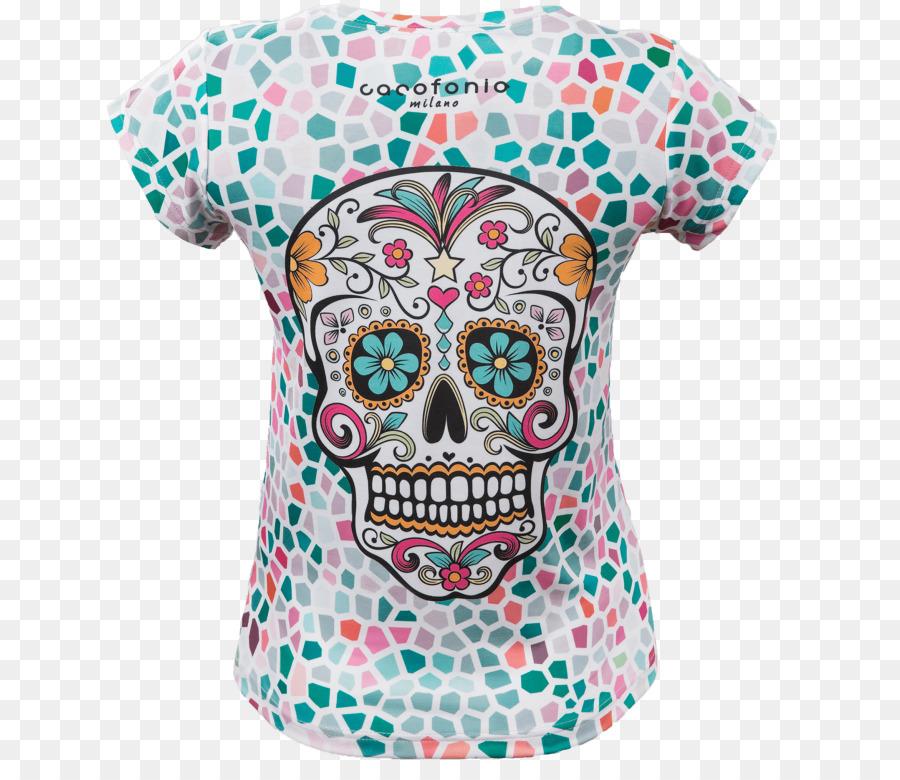 Panjang-T-shirt lengan Panjang T-shirt Santa Muerte Calavera