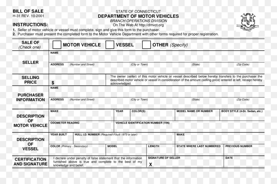 car bill of sale connecticut invoice form car png download 2550