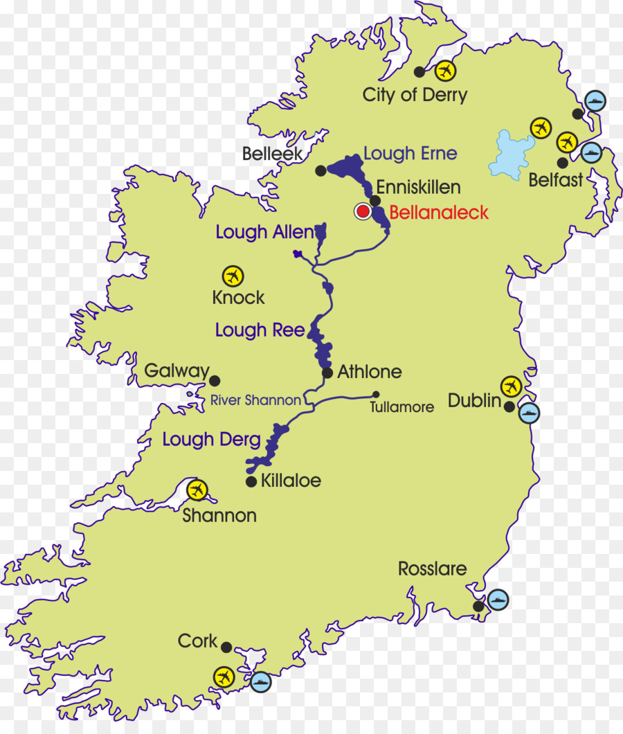 River Shannon Shannon County Clare Banagher Shannon Airport Map