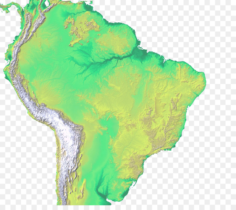 South America Shuttle Radar Topography Mission Topographic Map