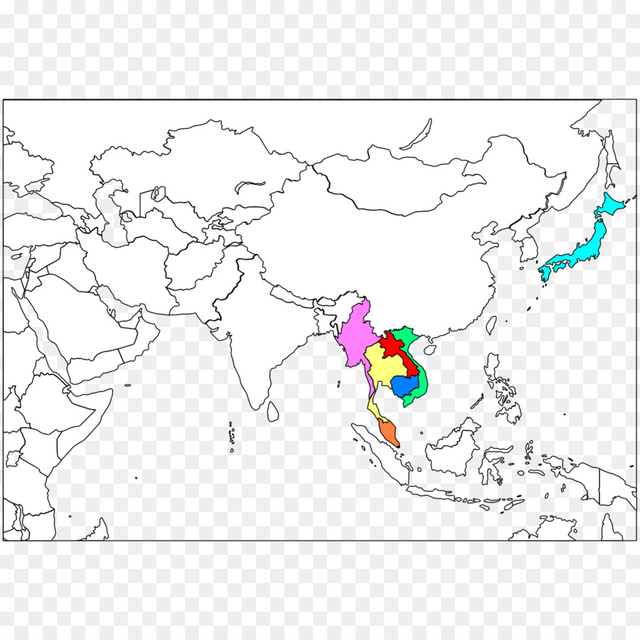 Southeast Asia Blank map Western Asia South Asia - map png download ...