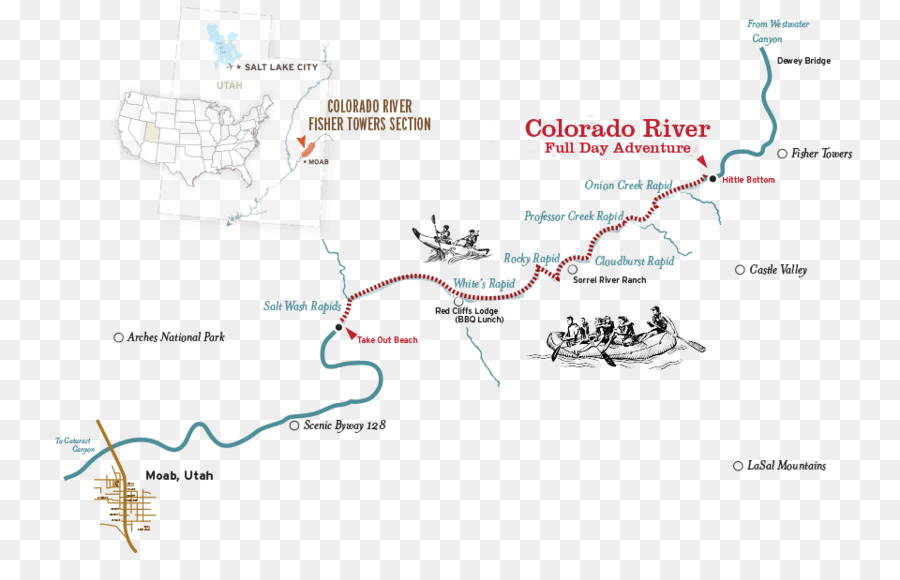Moab Fisher Towers Map Colorado River Cataract Canyon - map png ...