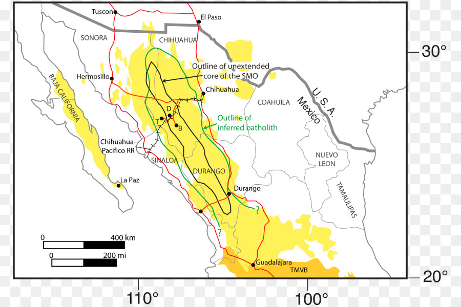 Mexican Plateau Sierra Madre Oriental Large igneous province Map ...
