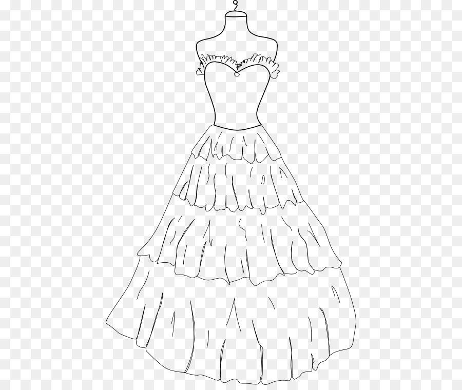 Buku Mewarnai Gaun Gambar Pakaian Gaun Unduh Gaun Monokrom