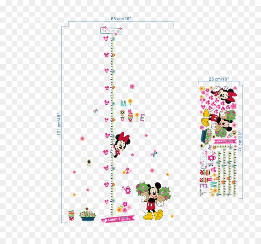 Minnie Mouse Mickey Mouse Wall Decal Sticker Height Measurement
