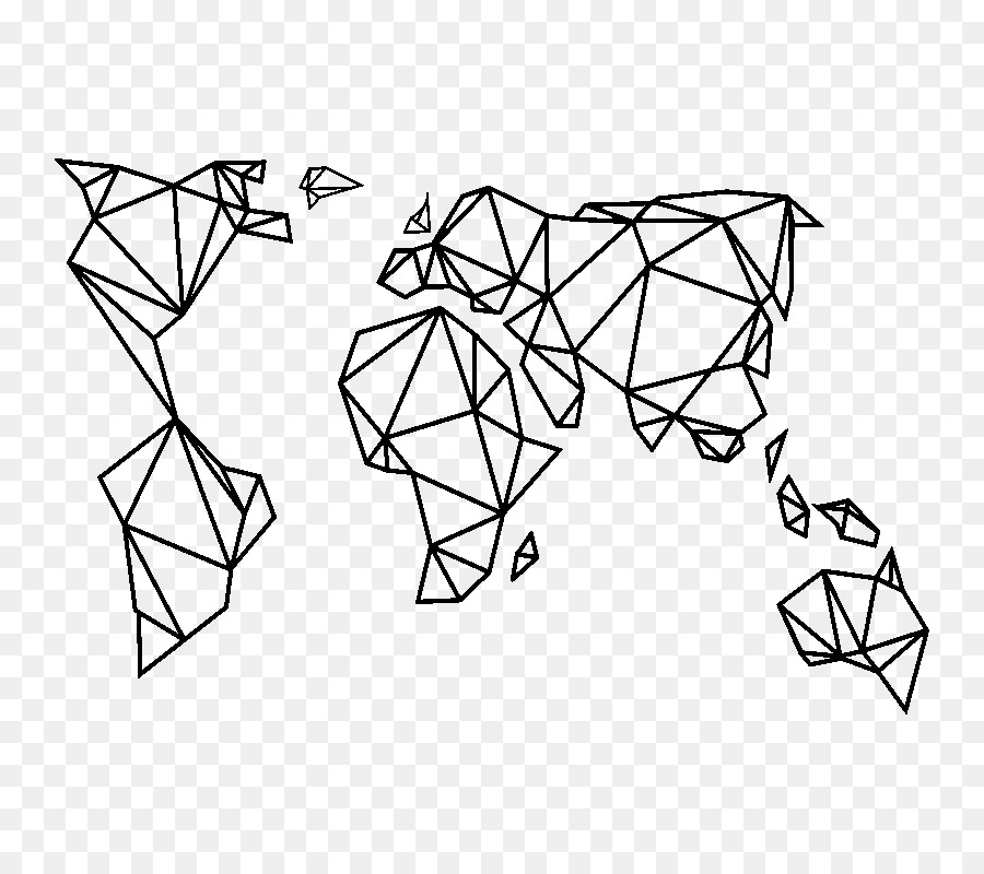 Paper Sticker World Map Geometric Png Download 800 800 Free