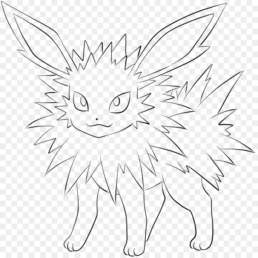 Eevee coloring book jolteon line art white png