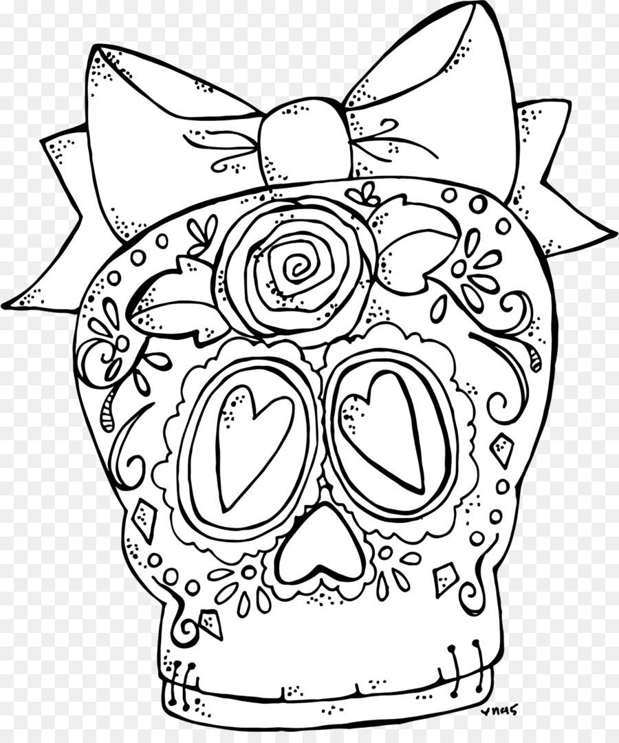 Sello Digital libro para Colorear, Dibujo en blanco y Negro - cráneo ...