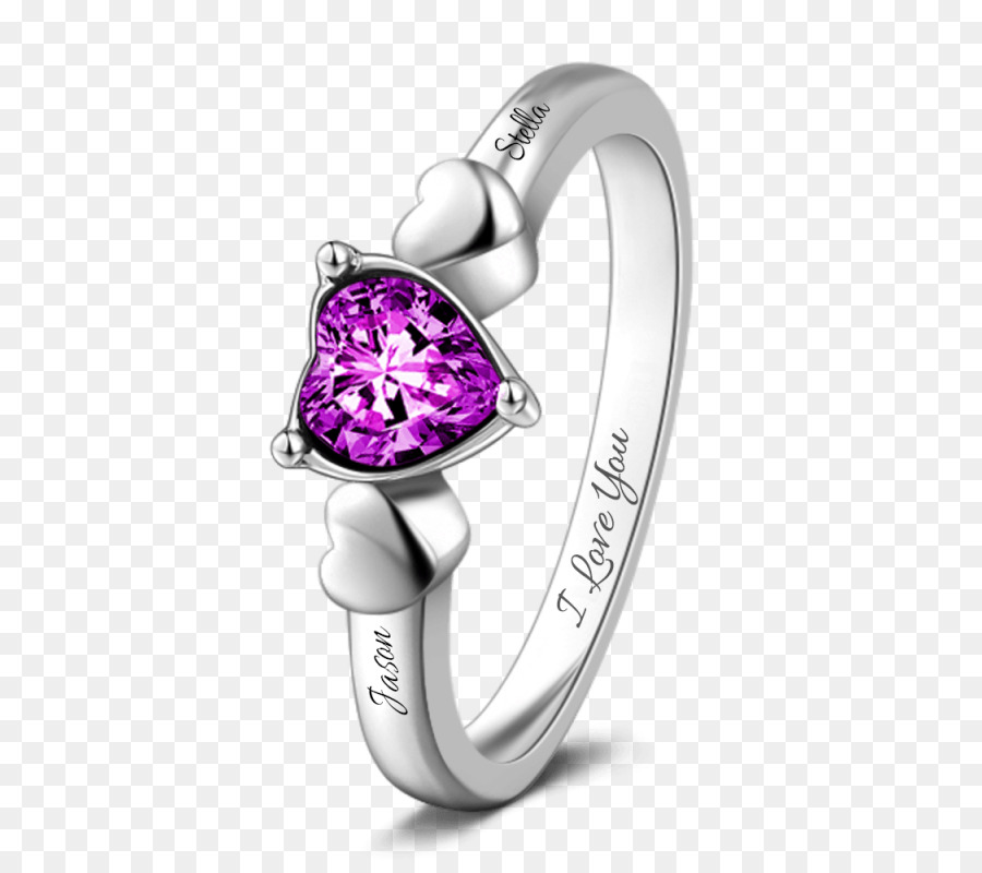 Amethyst Wedding Ring Birthstone Gemstone Couple Rings Png