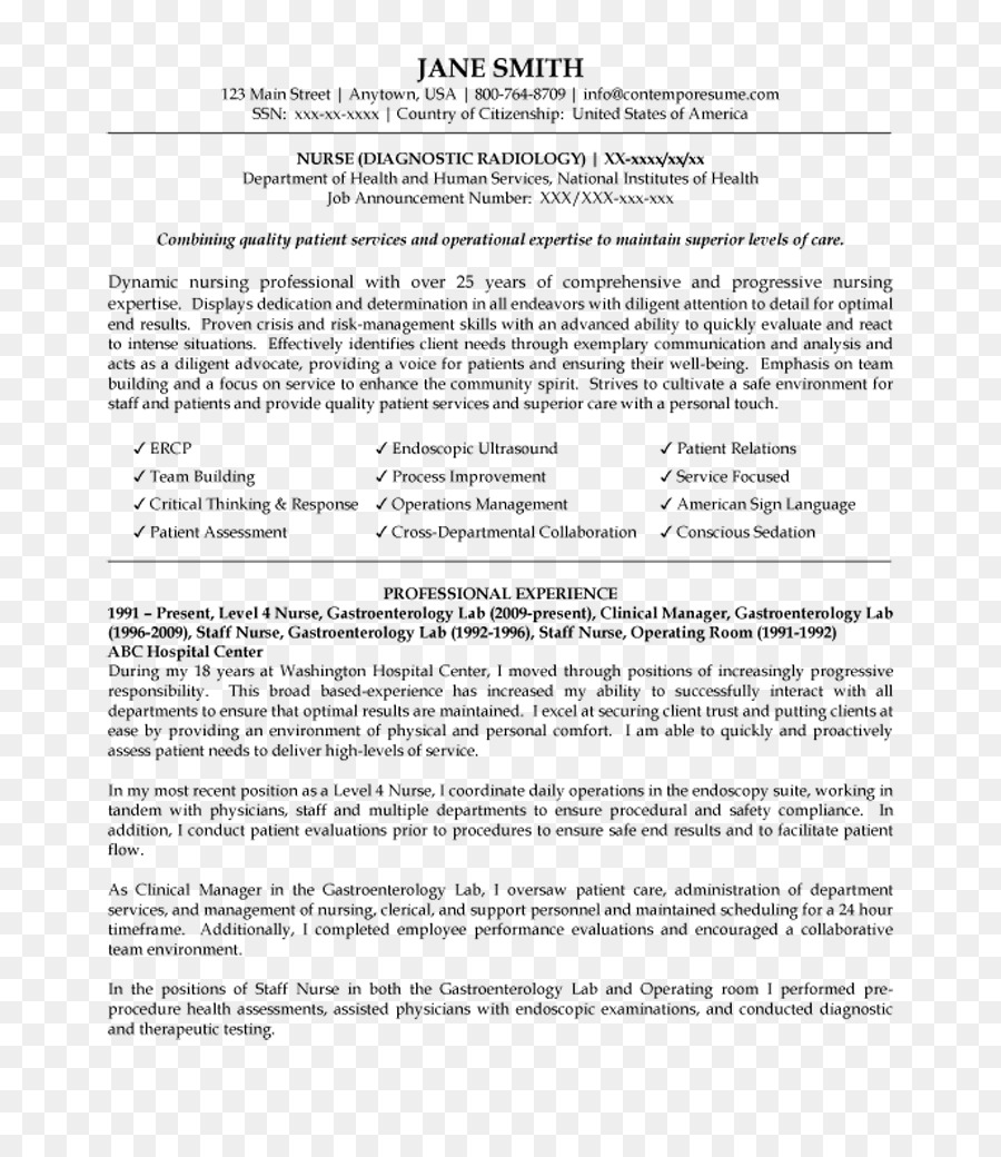 Resume Template Nursing Care Radiology Curriculum Vitae Others Png