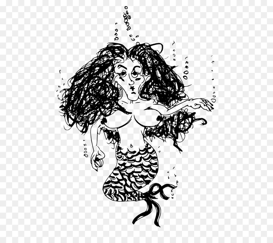 En blanco y negro para Colorear libro de arte de Línea Sirena ...