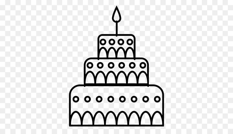 Birthday Cake Graphic Design Black And White PNG