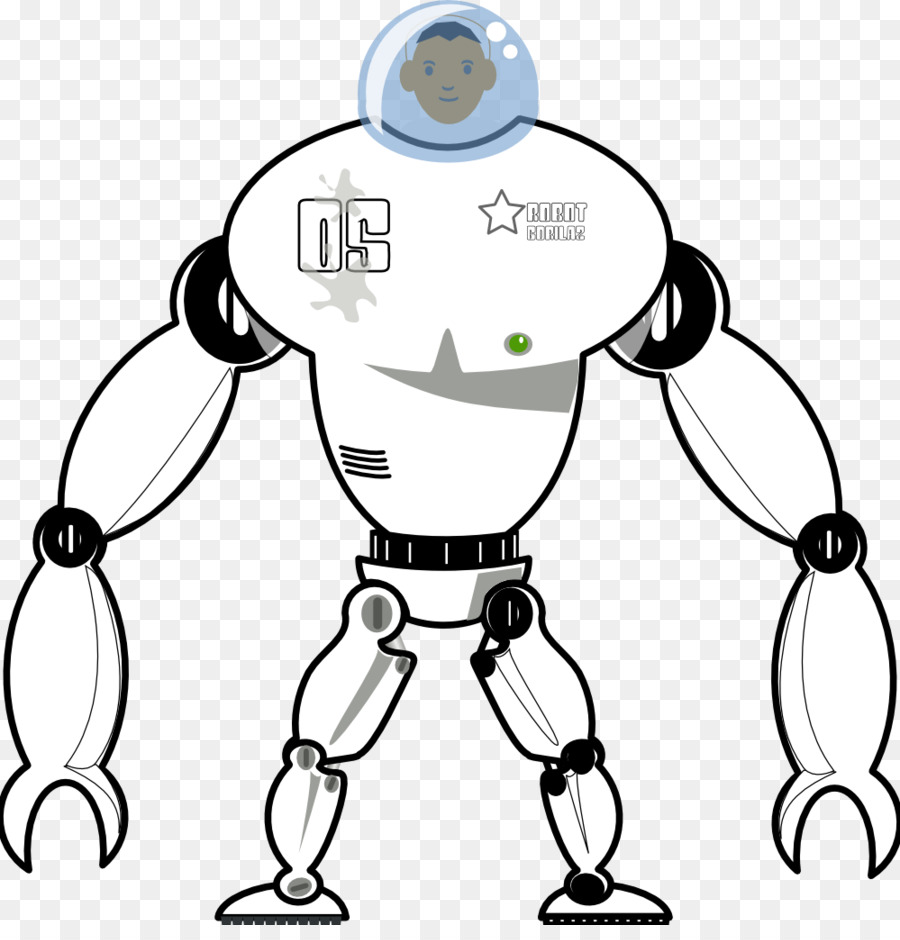 Black and white Coloring book Drawing Clip art - Black Robot png ...